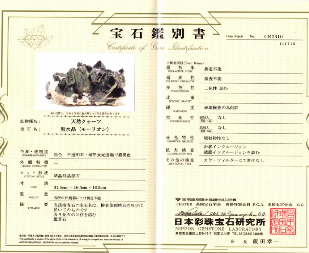 黒水晶(モリオン・カンゴーム)の鑑別書